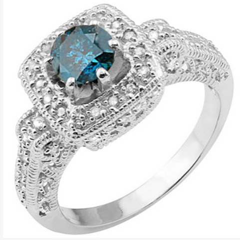 Engagement Ring, 1/2 CT Blue Diamond Solitaire with Channel set Dia