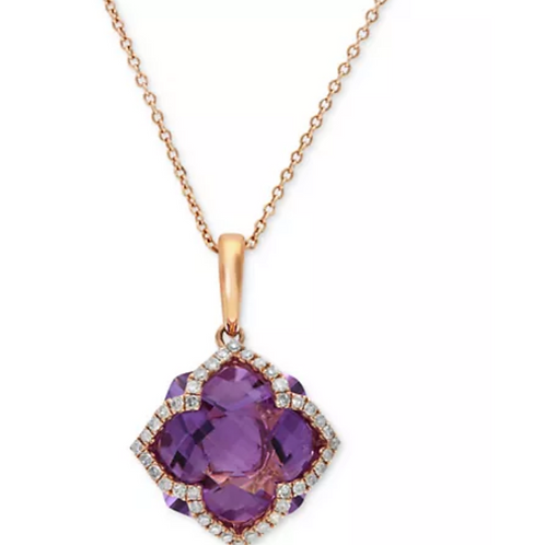 EFFY Lavender Rose Amethyst (5-3/4 C.T.T.W.) Diamond Ring 14K Yellow Gold