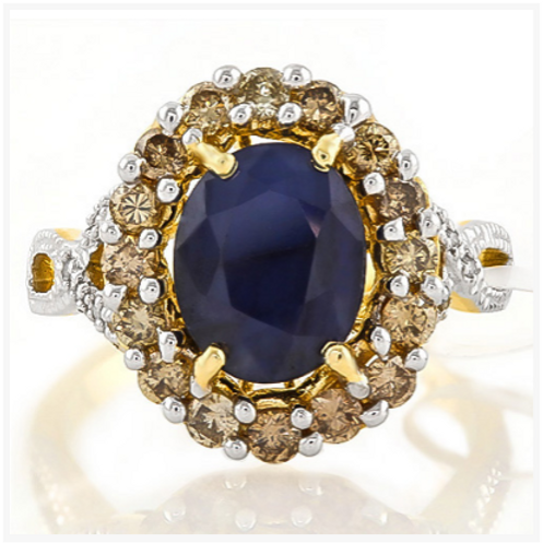 Ring, 3CT Oval Cut Sapphire with Chocolate& White Diamonds 14K YG