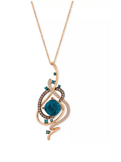 Exotics Deep Sea Blue Topaz (5-3/8 CT) Diamond (1 CT) Necklace 14K Rose Gold