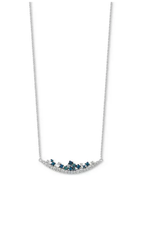 EFFY Shades of Bleu Diamond Necklace 14K WG