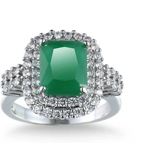 Ring, Emerald and White Sapphire