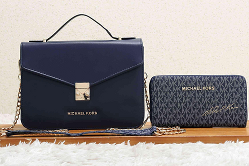 Michael Kors Leather Crossbody with Matching Wristlet-Navy