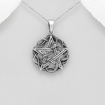 Star with Snake Pendant Necklace Sterling Silver