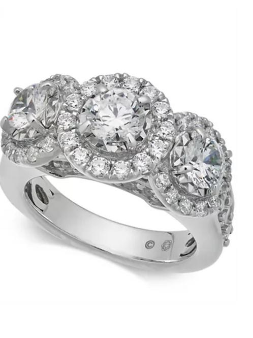 Diamond (3 CTTW) Triple Halo Engagement Ring 14K White Gold