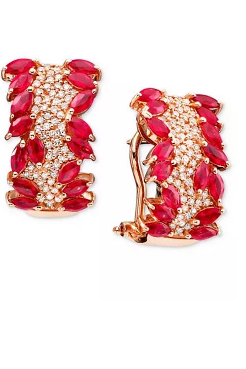 Rosa By EFFY Ruby (3-1/3 C.T.T.W.) Diamond Earrings 14K Rose Gold