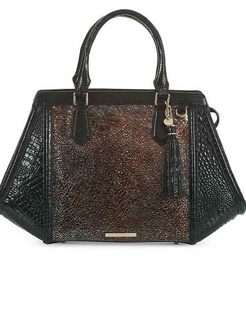 Brahmin Handbag, Arden Satchel Brown/Gold