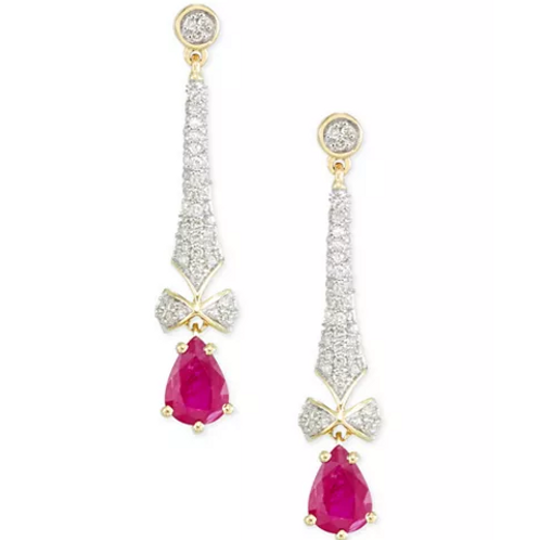 Ruby and Diamond Lariat Earrings 14Gold