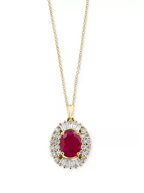 EFFY Certified Ruby ( 2 c.t. t.w.) Diamond (1/2 c.t. t.w.) 14k Yellow Gold