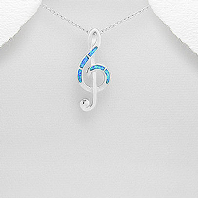 Opal Musical Note Pendant Necklace Sterling Silver