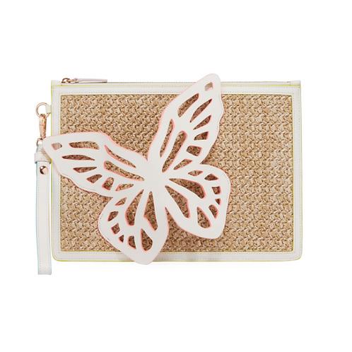 Sophia Webster Flossy Butterfly Embellished Woven Leather Pochette