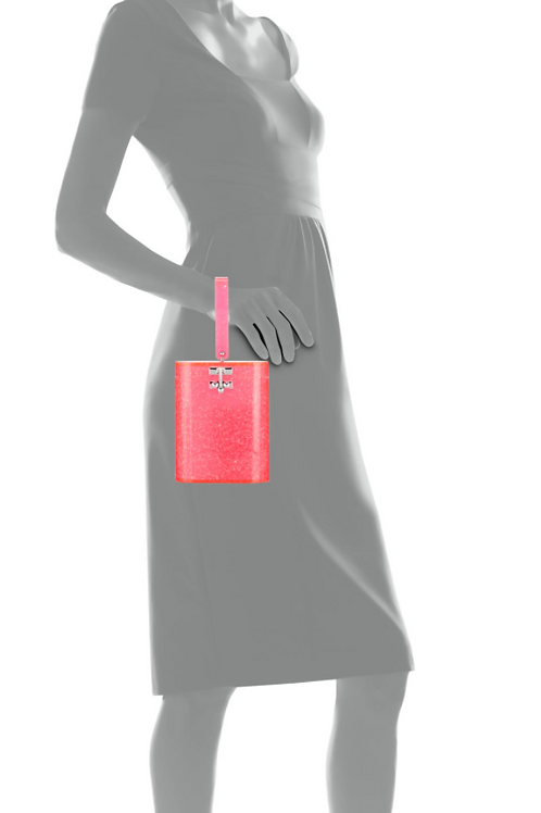 Edie Parker Oval Acrylic Top-Handle Bag in Pink