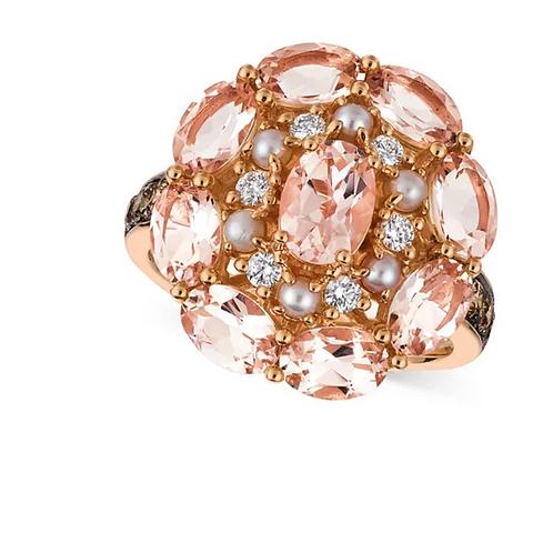 Peach Morganite, Pink Pearl  Diamond (4 C.T.T.W.) Ring 14K Rose Gol