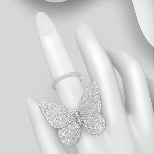 Pave Set Butterfly Ring with simulated Diamonds sterling silver