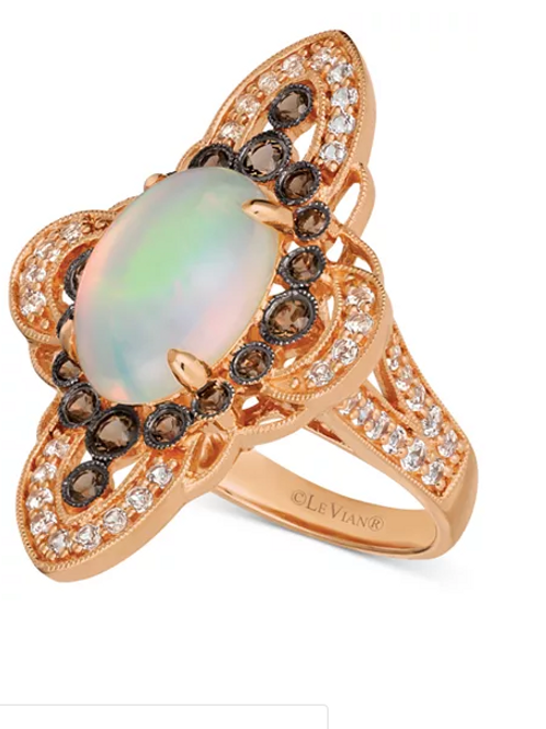 Opal and Diamond Statement Ring 14KRose Gold