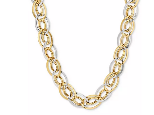 Two-Toned Interlocked Link Collar Necklace 10K Yellow and White Gold