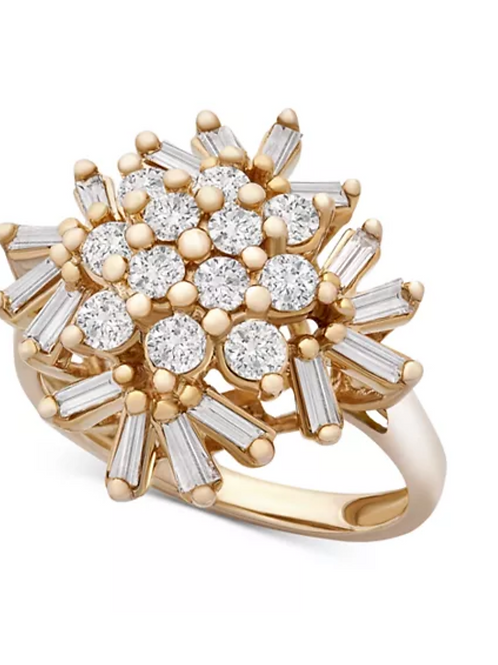 Diamond (1CTTW) Snowflake Ring 14K Yellow Gold