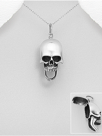 Skull with Hidden Compartment Pendant Necklace