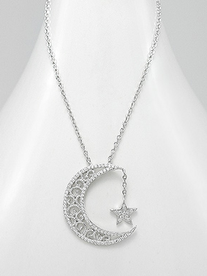 Moon & Star Necklace 925 Sterling Silver with Swarovski Crystal