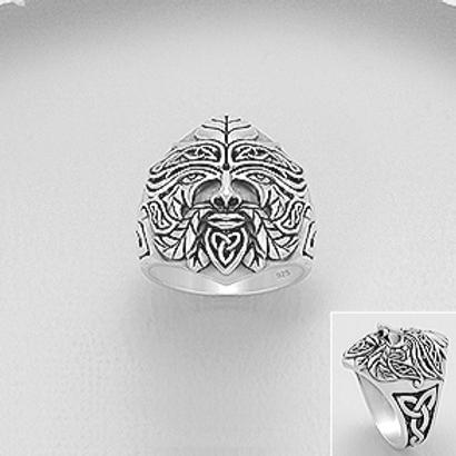 Celtic Green Man Ring 925 Sterling Silver