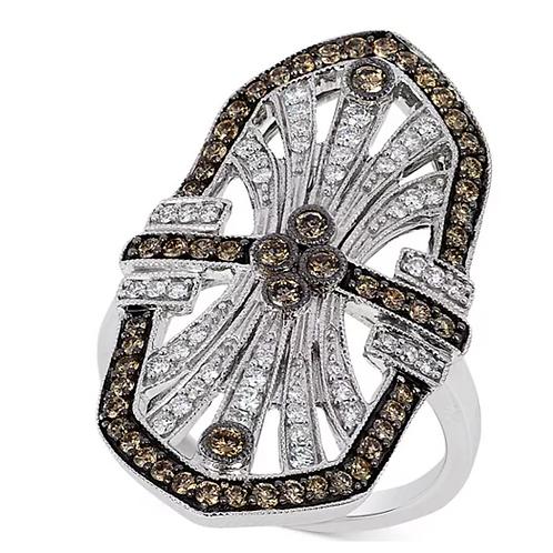 Chocolatier Art Deco Diamond Engagement Ring 14K White Gold