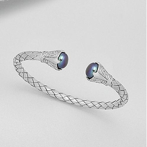 Tahitian Pearl Cuff Bracelet Sterling Silver