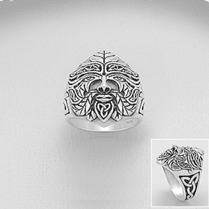 Celtic Green Man Ring Sterling Silver