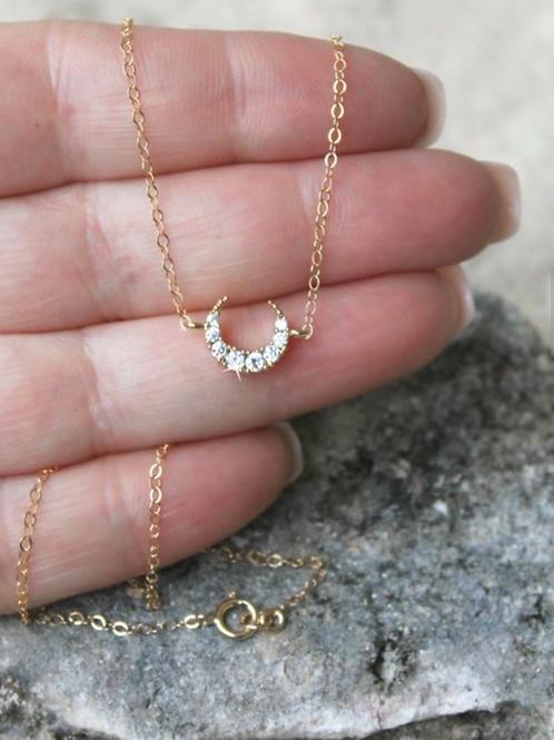 Crescent Moon Necklace, 14k