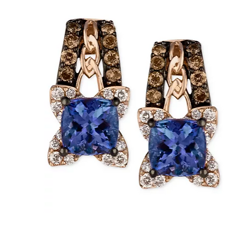 Le Vian Blueberry Tanzanite Diamond Earrings 14K Rose Gold