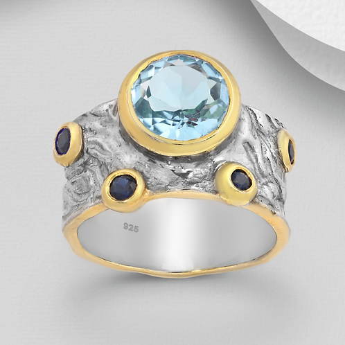 Blue Sapphires with Blue Topaz with 22K YG and Sterling Silver