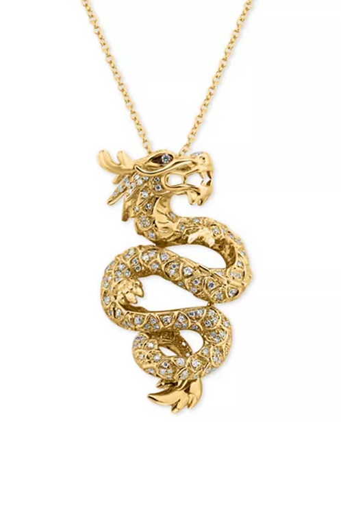 EFFY Diamond Dragon Pendant Necklace 14K Yellow Gold