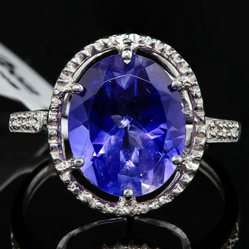 Tanzanite (7.83 cttw) Diamond Ring 10K White Gold