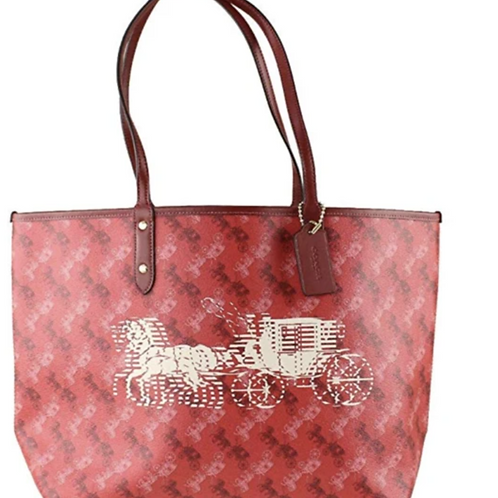 Coach Red Reversible City Tote Horse Carriage