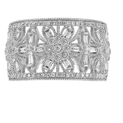 EFFY Diamond (1/2 c.t.t.w.) Floral Filigree Ring 14Kt WG