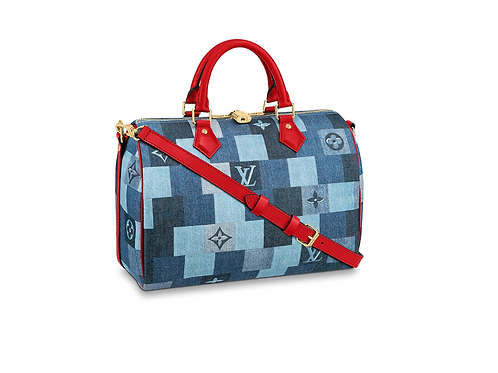 Louis Vuitton Speedy Bandouliere 30 Patchwork Blue