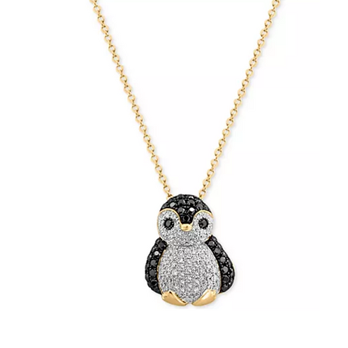 EFFY Diamond Penguin Pendant Necklace 14K Yellow Gold