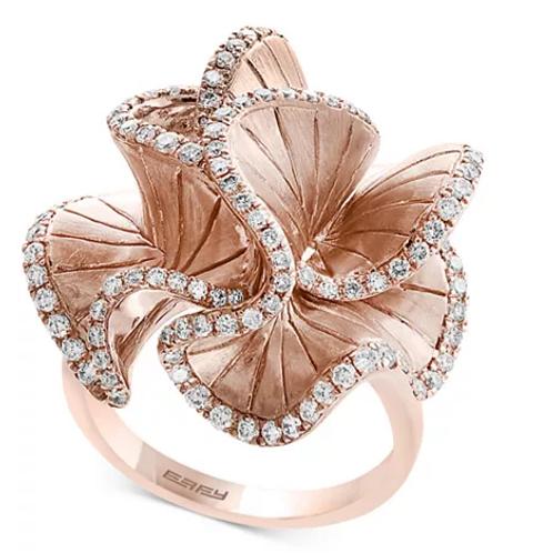 EFFY Pave' Rose Diamond Flower Ring in 14K Rose Gold