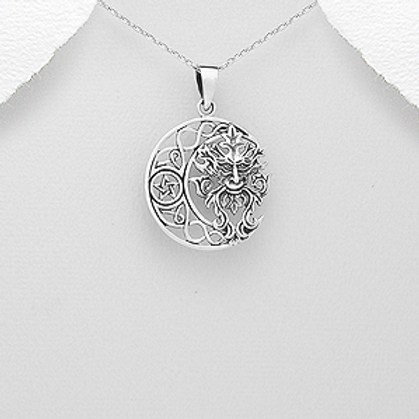 Crescent Moon and Celtic Green Man Pendant Necklace