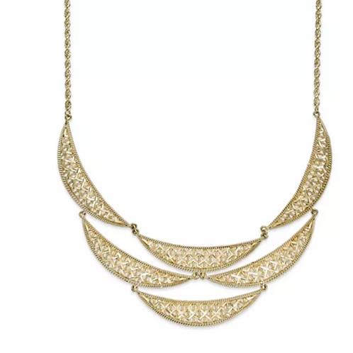 Diamond Cut Bib Necklace 14K YG