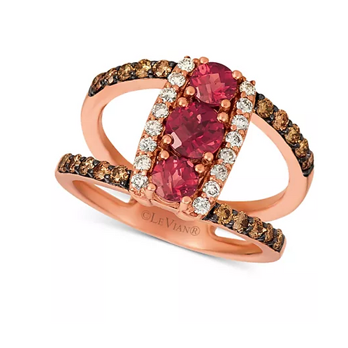 Ruby Ring with Nude and Chocolate Diamonds 14K Rose Gold