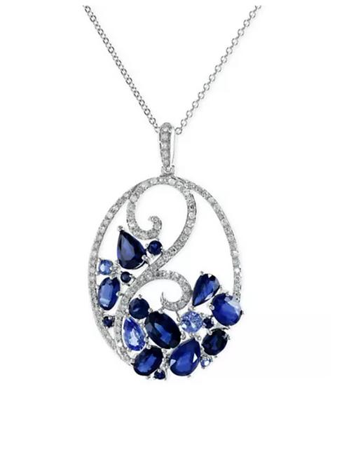EFFY Sapphire (3-3/4 CTTW) Diamond (1/4 CTTW) Necklace 14KT White Gold
