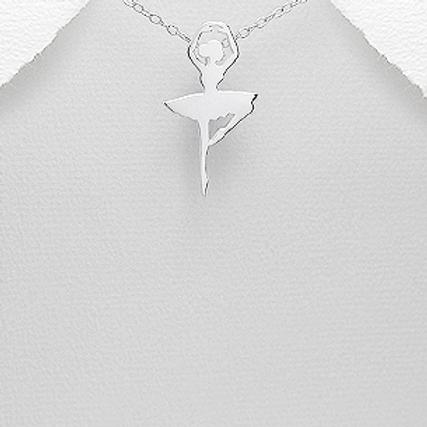 Ballet Dancer Pendant Necklace Sterling Silver