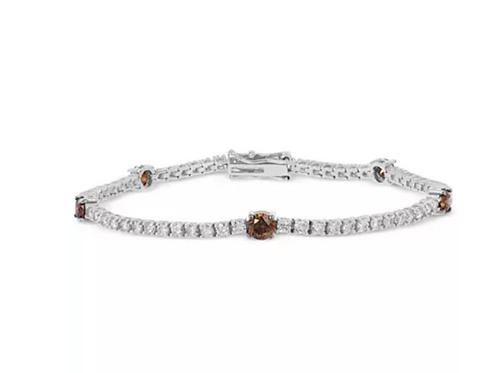 Chocolatier White & Chocolate Diamond Tennis Bracelet 14