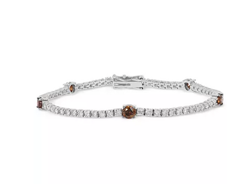 Le Vian Chocolatier White & Chocolate Diamond Tennis Bracelet 14K White Gold