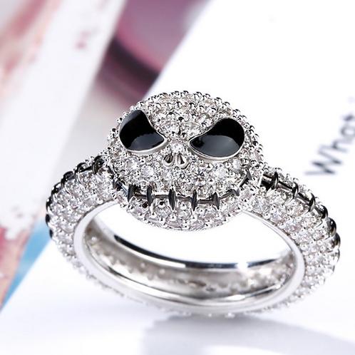 Pumpkin King Jack Skull Sterling Silver Ring