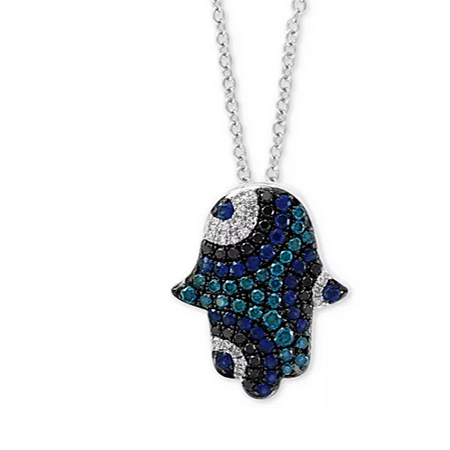 EFFY Sapphire and Diamond Hamsa Hand Pendant Necklace 14K WG