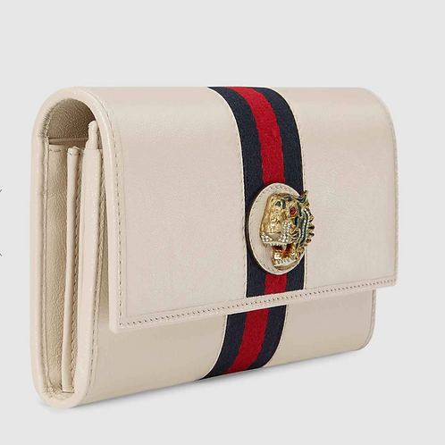 Gucci Rajah Chain Card Case Wallet White Leather