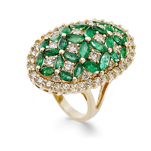 Emerald and Diamond Floral Ring 14K Gold