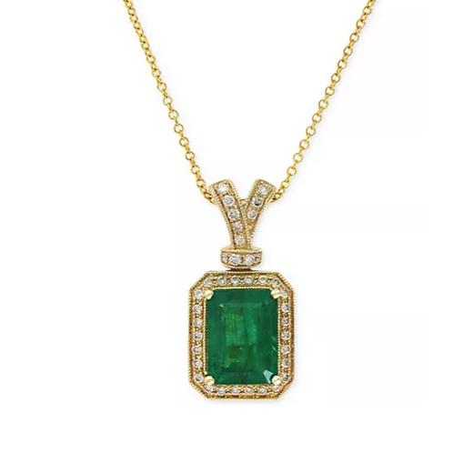 Brasillica by EFFY Emerald (2-1/5 cttw) and Diamond (1/5 cttw) Necklace 14K YG