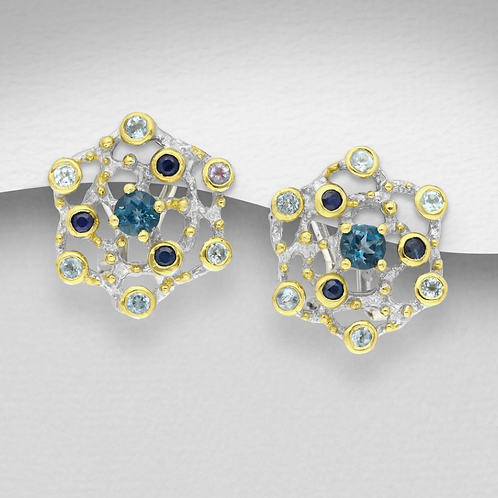 London Blue Topaz Earrings with Blue & White Sapphires